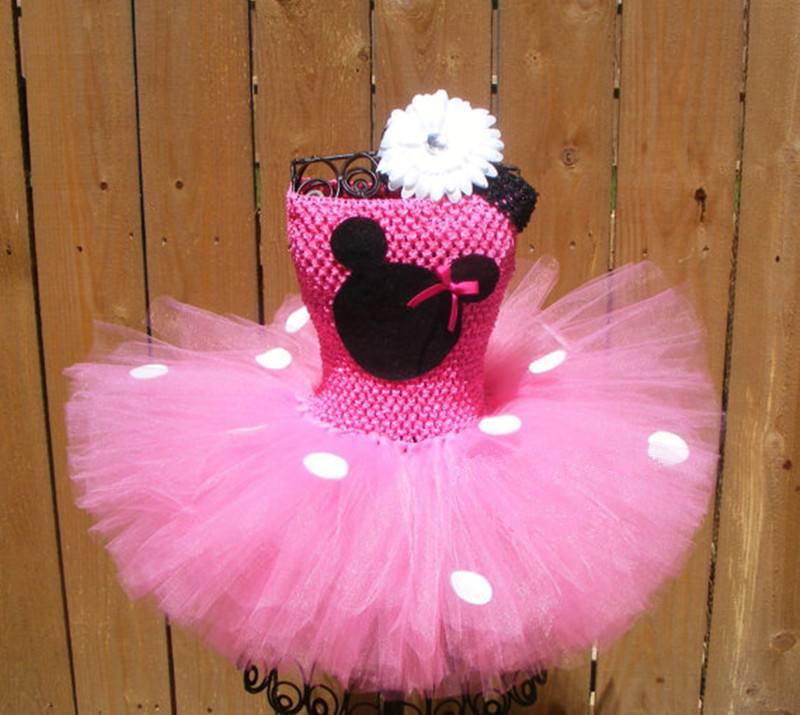 Lovely Girls Pink Minnie Tutu Dress Baby 2Layers Crochet Tulle Dress with White Dots and Flower Headband Kids Party Dance Dress light pink white polka dots one piece petti dress with white posh feather malp27