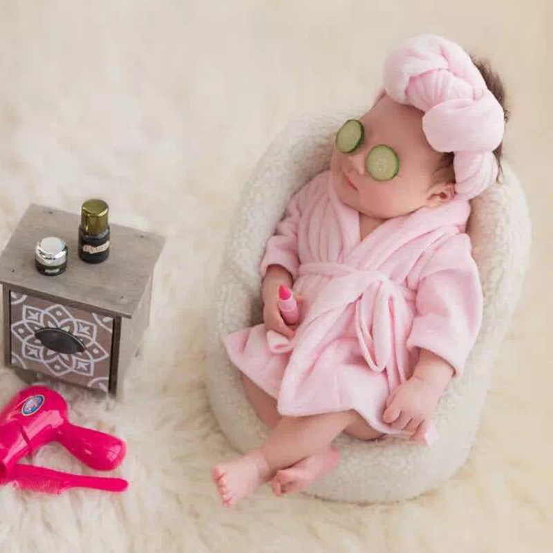 2 Pcs /Set Baby Bathrobe & Baby Towel Wrap Newborn Photography Props Baby Cloth Sets Photo Shoot Accessories
