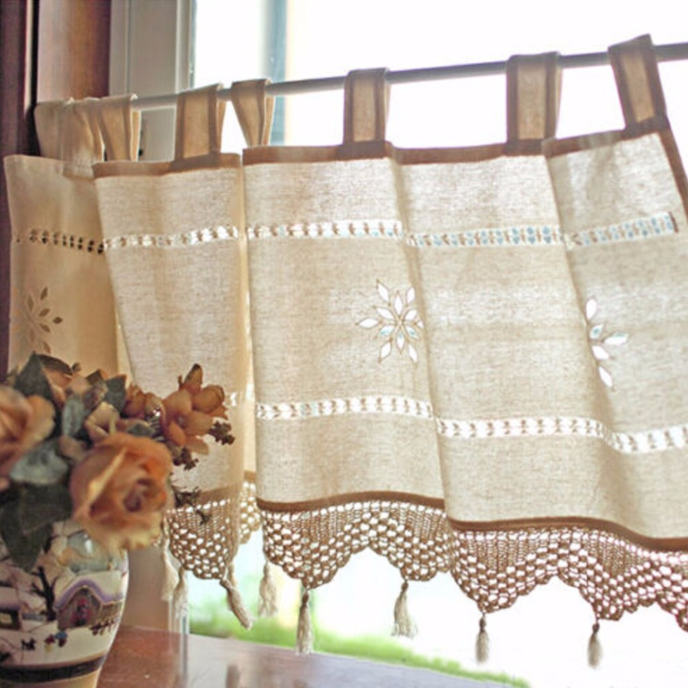 Kitchen cafe curtains - Country Style French Cotton Linen Embroidery Cafe Curtain Home Kitchen Curtain China Mainland