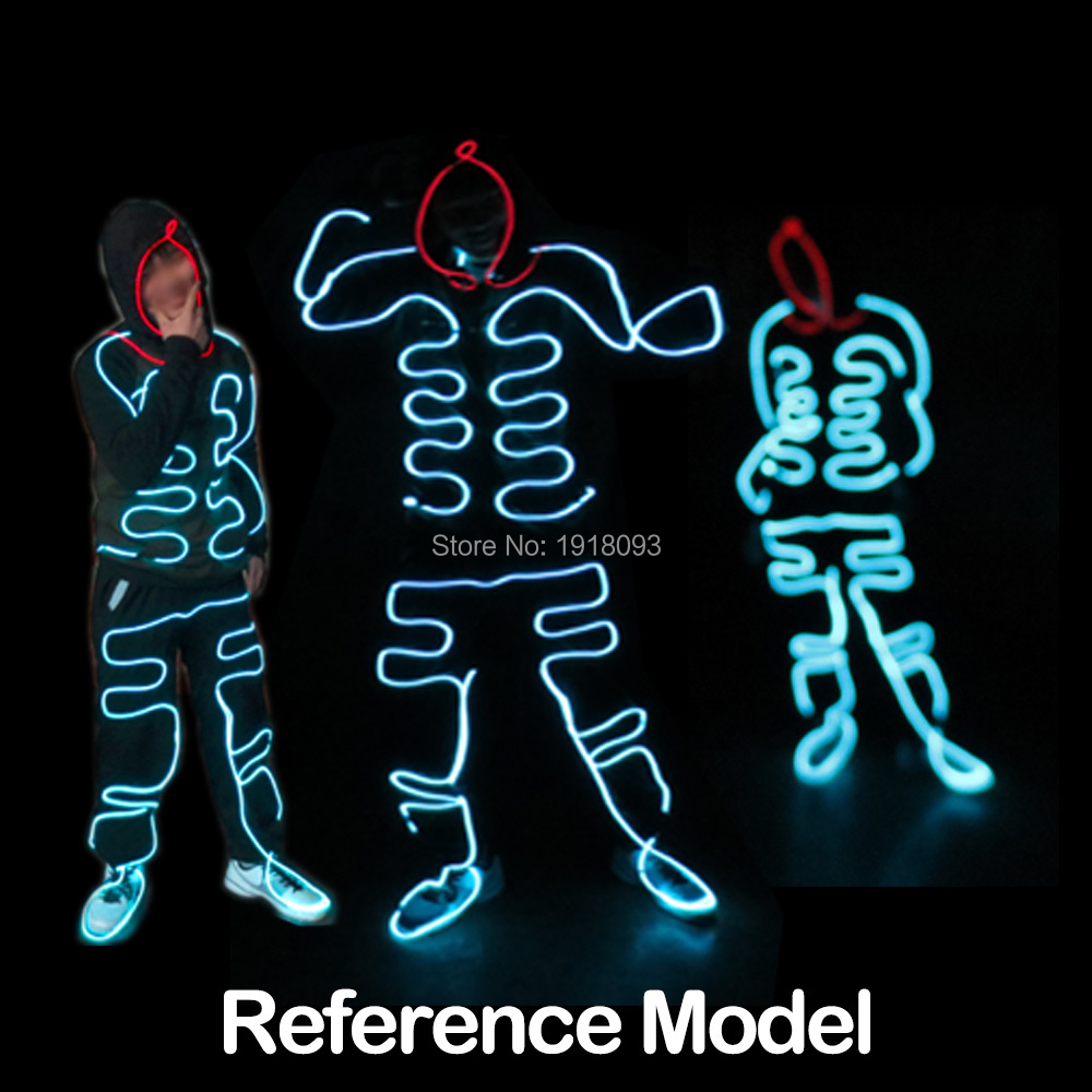 Fashion EL Wire Suits EL DIY Glowing Clothes Luminous Costumes LED Strip Light Clothing Event Party Decoration steady on inverter el wire glowing hip hop cap led strip light up glowing product make up party glow props for party supplies