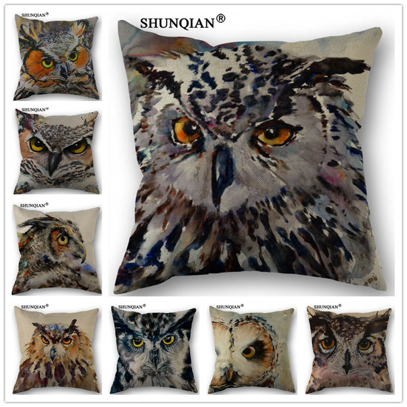 Y4143 Raptor Owl Ink Painting Pillowcase Cotton Linen Pillowcase 18X18 Inches Bedroom Office Throw Decorative Pillows