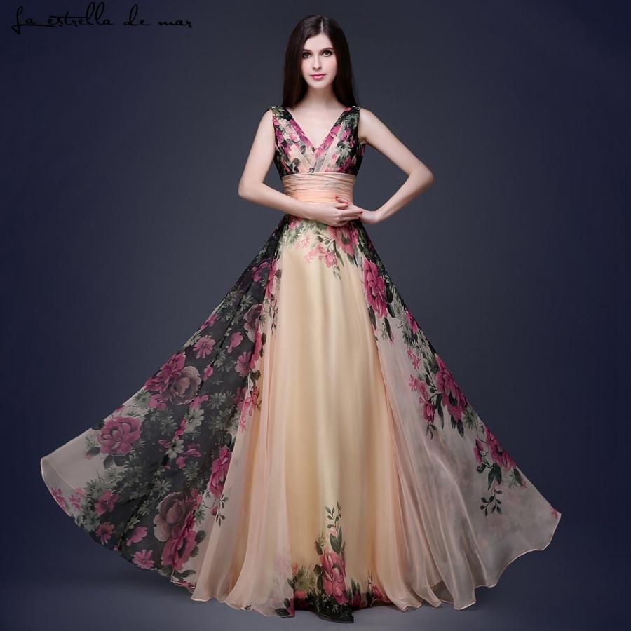 Vestido Madrinha Casamento Longo New Sexy V Neck Tank Chiffon Print Bridesmaid Dresses Cheap Brautjungfernkleid Plus Size
