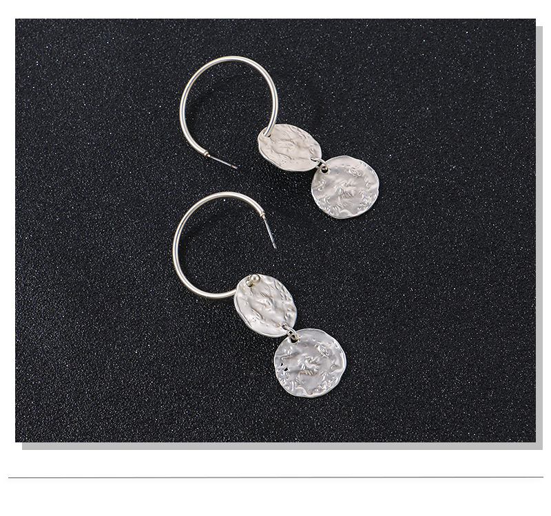 HTB1u97sFgaTBuNjSszfq6xgfpXaQ - Badu Hoop Earring Women Vintage Hammered Metallic Earrings Punk Style Fashion Jewelry Champagne Color