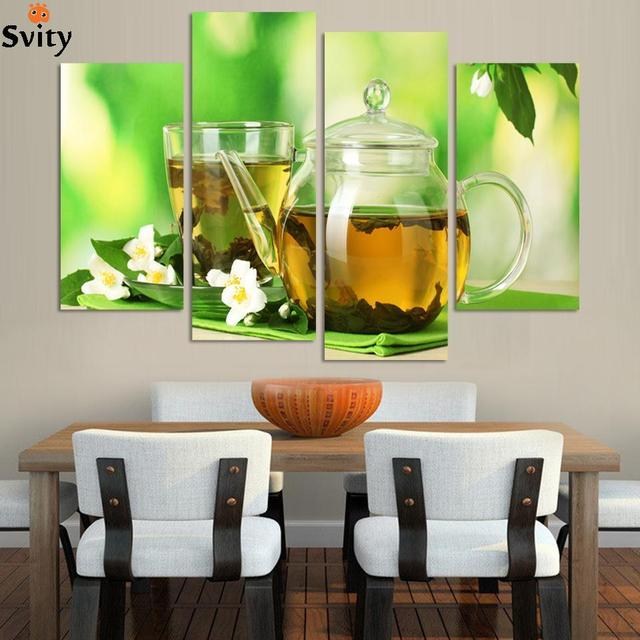 US $19.68 26% di SCONTO|4 Pannelli cucina moderna arte Immagine Pittura  Combinazione Moderna Tela Vernice migliori dipinti vita FELICE decorazione  ...