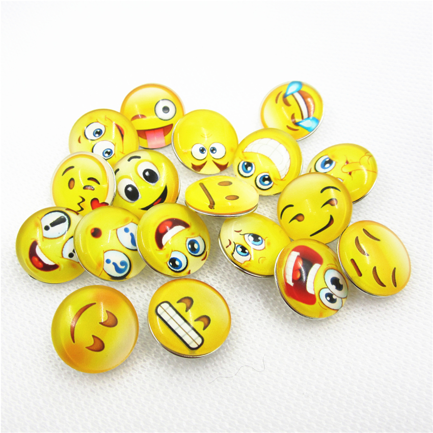 100pcs/lot Mix Glass expression face feeling snap buttons 18mm ginger button snap pendant/bracelet charms diy snap jewelry