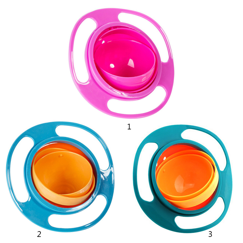 Baby Feeding Dish Cute Baby Feeding Gyro Bowl Universal 360 Rotate Spill-Proof Baby Food Feeding Dinning Bowl