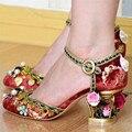 Mulheres do vintage Birdcage Flores Handmade Vestido de Casamento Das Mulheres do Salto Bombas Sapatos Mulher 7 CM Saltos Altos Stiletto Sapato Da Cinderela