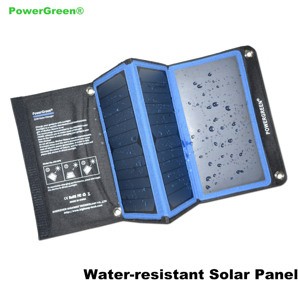 Double USB Solar Charger PowerGreen 21 Watts Foldable Solar Power Backpack Solar Cell Panel with Carabiner