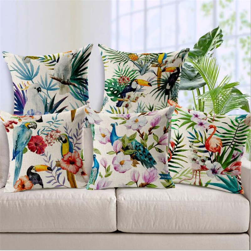 Square 18 Hand Printed Parrot Peacock Pillow Covering Flamingos Linen Cotton Cushion Decorative Customized Drop Shipping