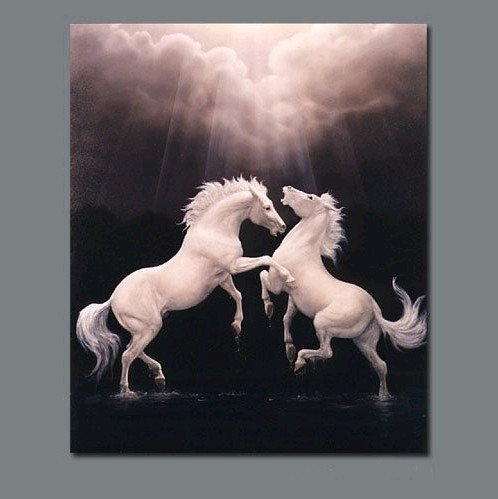 """Modern Animal Oil Painting:""""White Horse"""" Guaranteed 100% Free shipping"""