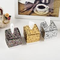 50Pcs Wedding Favor Boxes Set Creative Sparkling Glitter Paper Candy Sugar Gift Boxes For Bridal Shower