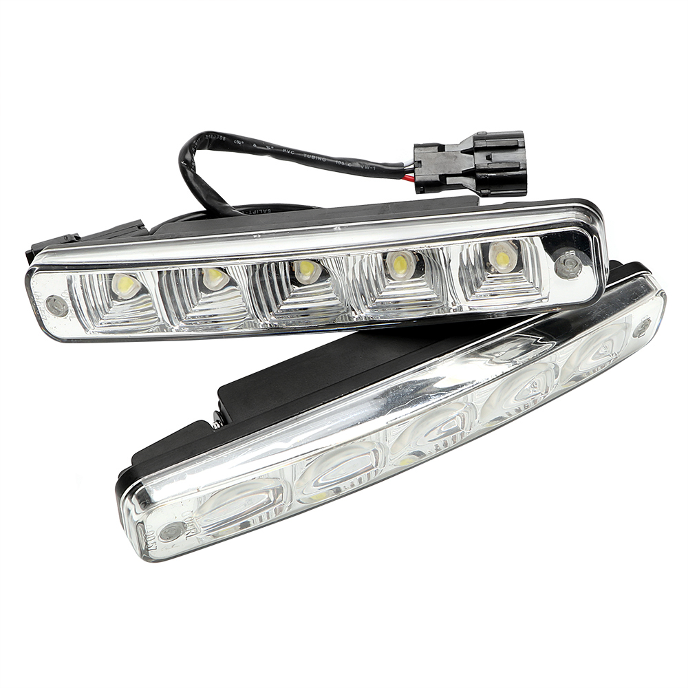 Front Right Left DC 12V Super Bright Auto Fog Lamp 5 LEDs Car DRL LED Daytime Running Lights Driving Light Car-styling 2pcs