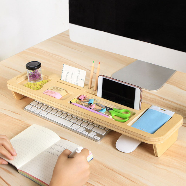 E Saving Wood Shelf Desk Organizer Storage Box Multifunction Desktop Stand Diy Phone Holder