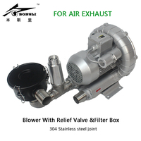 High Pressure Ring Blower/Electric Motor Blower air extraction wtih Relief Valve&filter box