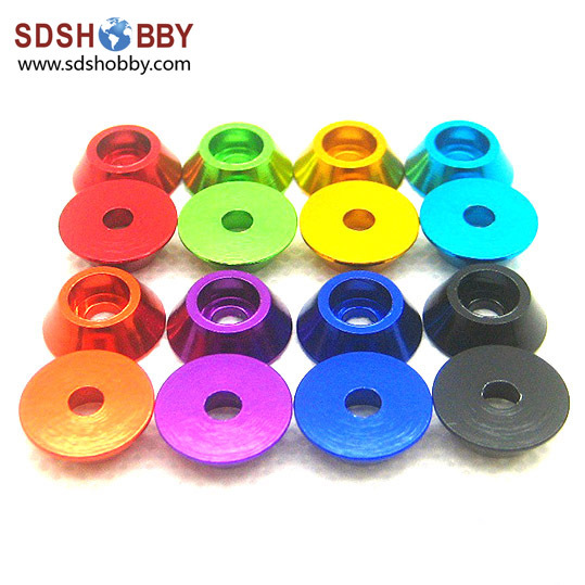 10PCS M3 Aluminum Alloy Cone Cup Head Screw Gasket Washer Multicolor
