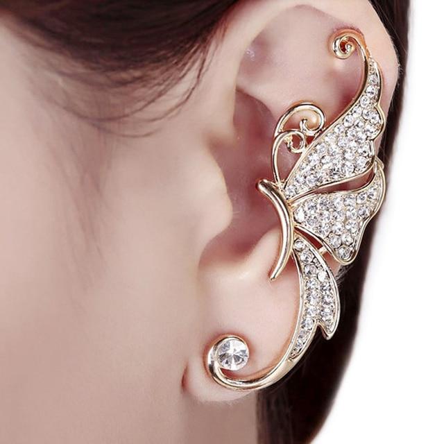 2018 New 1pc Rhinestone Crystal Erfly Ear Cuff Clip Cartilage Earring