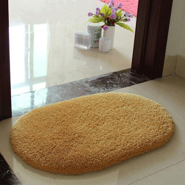 Hot Sale Shaggy Bathroom Rug Candy Color Plush Velvet Slip Mats Doormat  Absorbent Washable Bath Mats