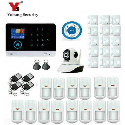YobangSecurity Touch keypad WIFI GSM IOS Android APP Wireless Home Burglar Security Alarm System Smoke Sensor Fire Detector yobangsecurity touch keypad wifi gsm gprs home security voice burglar alarm ip camera smoke detector door pir motion sensor