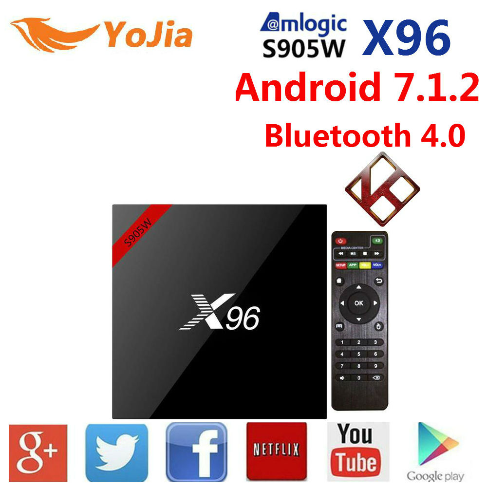 With IR Cable Magic tape X96w Amlogic S905w Android 7.1 TV BOX 1GB/8GB 2GB/16GB X96 TV Box X96w Bluetooth 4.0