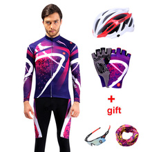 Long Sleeve Pro Team Cycling Jersey Set Men Breathable 3D Padded Sportswear Mountain Bicycle Clothing Mtb Bike Wear Clothes Mens