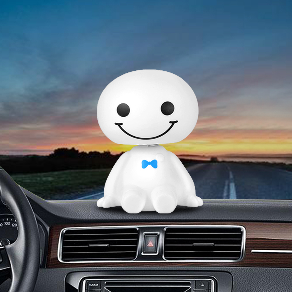 Car Ornament Cute Shaking Head Baymax Robot Doll Automotive Decoration Auto Interior Dashboard Bobble Head Toys Accessories Gift solar powered head shaking cute hula couple desktop toy