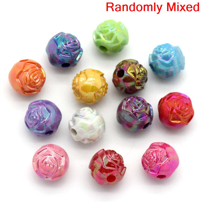 """Dia. 1 1//8/"""" 20PCs Acrylic Spacer Beads Flower Pattern Round Mixed AB Color 27mm"""