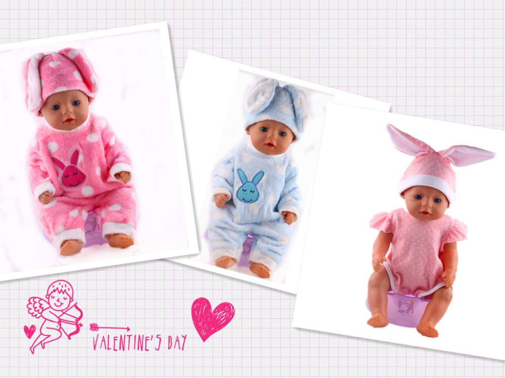 3 different colours Fashion Rabbit outfit Winter suit For 43cm New Baby Born Zaft free shipping