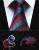 """Festa de Casamento Clássico Quadrado Bolso Gravata TZS03R8 Vermelho Listrado Azul 3.4 """"Homens Gravata de Seda Gravata Lenço Abotoaduras Set"""