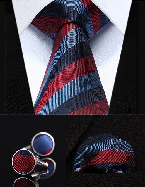 """Pocket Square Wedding Party Classic Corbata TZS03R8 Rojo Rayado Azul 3.4 """"de Seda lazo de Los Hombres Corbata y Gemelos Conjunto"""