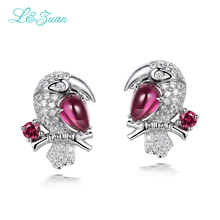 L&zuan 925 Sterling Silver 3.11ct Natural Garnet Red Stone Elegant Stud Earring For Woman Parrot Earrings
