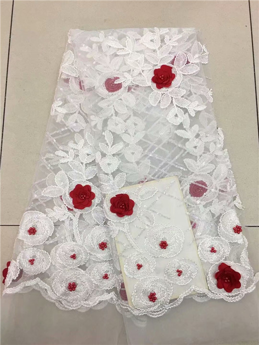 Nigerian lace fabric 2018 high quality lace Black French 3D Flower Net Lace Fabric/High Quality African Beaded Tulle white red