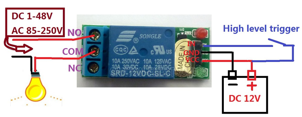 DC 12V 433.92M DC 12V 2Ch Multifunction Wireless Timer Delay Relay ...