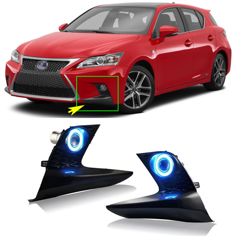 Ownsun COB Angel Eye Rings Projector Lens with 3000K Halogen Lamp Source Black Fog Lights Bumper Cover For Lexus CT200H for opel astra h gtc 2005 15 h11 wiring harness sockets wire connector switch 2 fog lights drl front bumper 5d lens led lamp