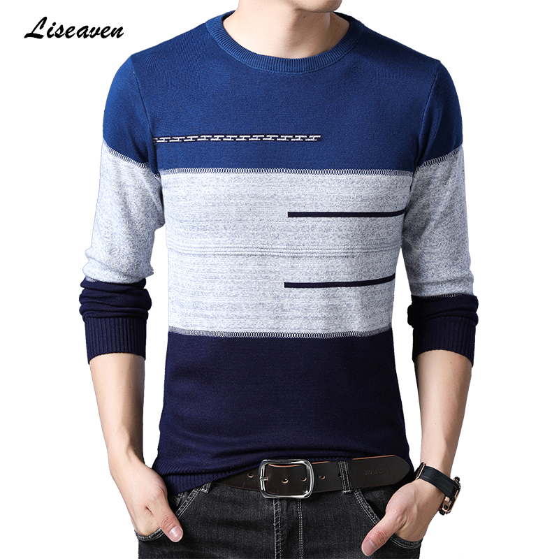 Liseaven Men Casual Sweater Winter Warm Striped Pullovers 2019 Knitted Sweaters Cashmere Wool Pullover Men O-Neck Pull Homme