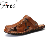 Fires PU Leather Men Sandals Summer Casual Shoes New Man Beach Shoes Breathable Breathable Footwear Men Lazy Shoes Driving Shoes