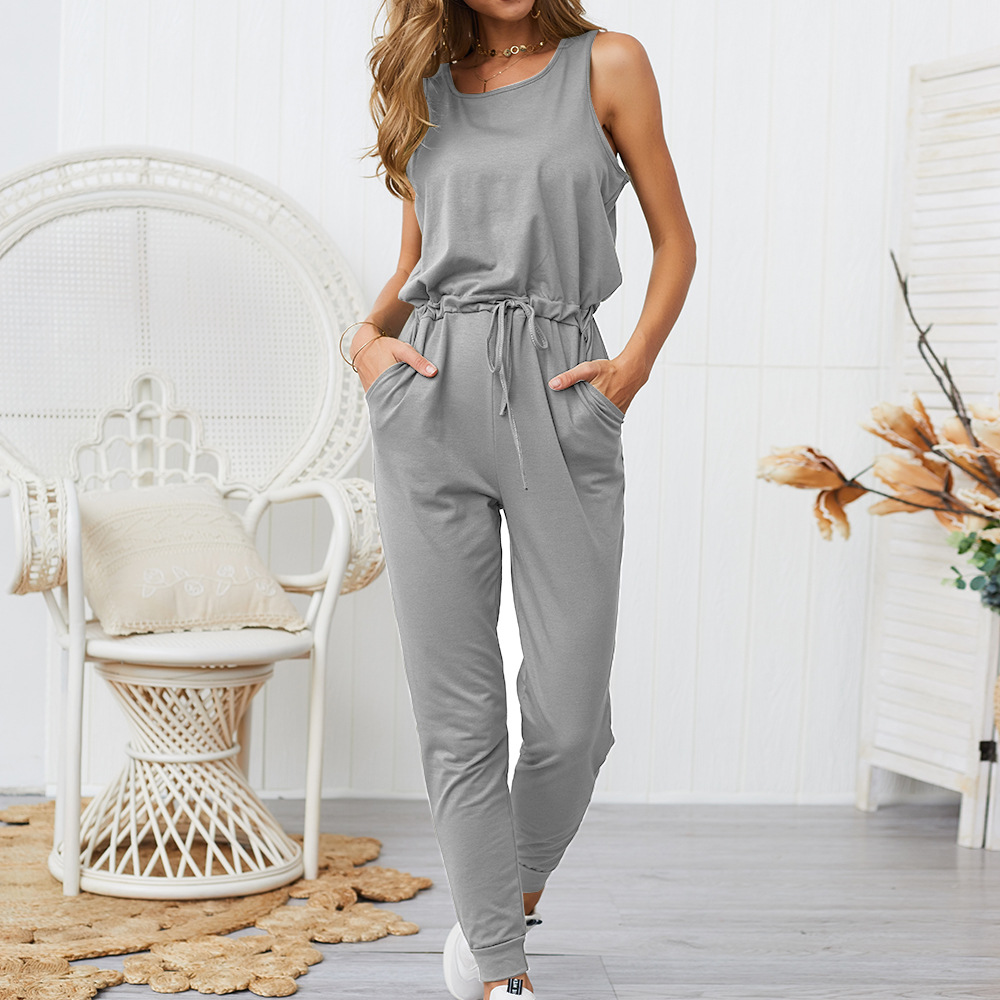 2019 New Summer Women Slim Elegant Sleeveless Jumpsuit Women Solid Color Rompers Jumpsuit with Pocket Drawstring Overalls in Jumpsuits from Women 39 s Clothing