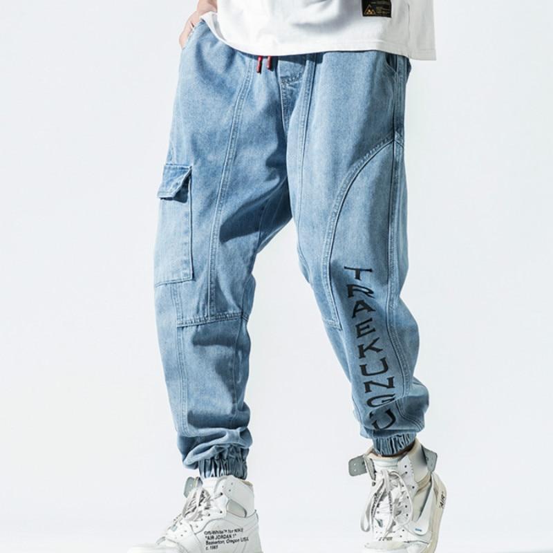 Spring 2019 New Men's Stretch Cotton Stretch Jeans Slacks Baggy Fit Multi-pocket Denim Pants Men's Fashion Brand Clothing