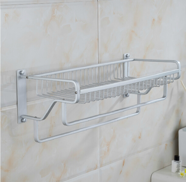 Bathroom Accessories Towel Bars aliexpress : buy wall mounted space aluminum double layer