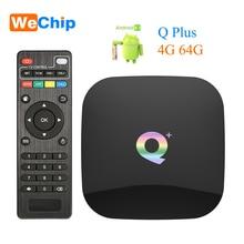 Wechip الذكية أندرويد 9.0 صندوق التلفزيون Q زائد 4GB 64GB Allwinner H6 4GB 32GB 1080P H.265 4K مشغل الوسائط 2.4G واي فاي اللاسلكية تعيين صندوق