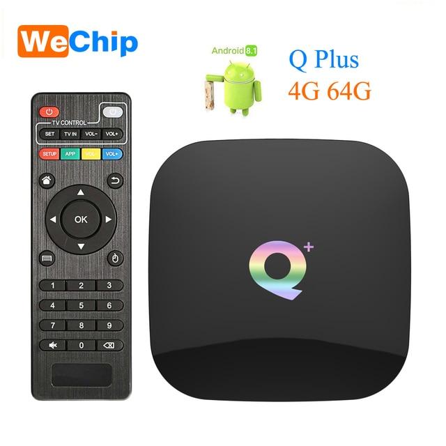 Wechip Smart Android 9.0 TV, pudełko Q plus 4GB 64GB Allwinner H6 4GB 32GB 1080P H.265 4K odtwarzacz multimedialny 2.4G Wifi bezprzewodowy dekoder