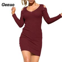 Genuo Autumn Casual Dress Women Knitted Series Rib Cold Shoulder V Neck Full Sleeve Bodycon Party Dresses Mini Dress round neck cold shoulder womens bodycon dress