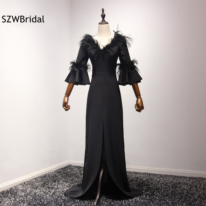 New Arrival V Neck Feather Black Evening gown 2018 Three quarter ...