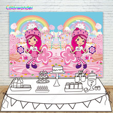 Fashion Twins Photo Backdrop Ice Cream Strawberry Shortcake Pink Candyland Custom Backgrund For Twins 2nd Brthday Party Banner(China)
