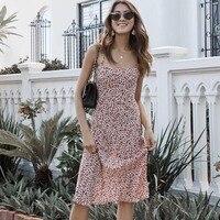 Women The Amelia Nudite Dress Adjustable Floral Print Spaghetti Straps Amelia Dress Silk Dress