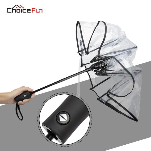 Paraguas a prueba de viento plegable compacto abierto automático paraguas transparente divertido