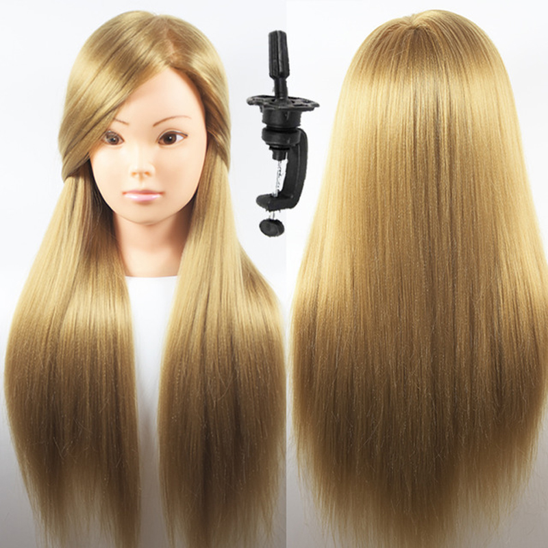 Hearty Synthetic Mannequin Head Female Hair Head Doll 22 Inches Mannequin Doll Head Hairdressing Training Heads Styling With Fiber Hair Extensions & Wigs Wig Stands