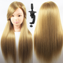 "26"" Blonde Hair Styling Heads For Practice Training Female Mannequin Head Hairstyles Cosmetology Yaki Hair Dolls With Free Gift(China)"