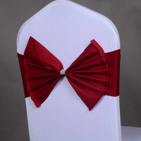 100Pcs/lot Wedding Chair Sashes Bow Acrylic Cover Band Elastic Red wine/ Gold Sash Spandex Chair Ties Decorations Event Party