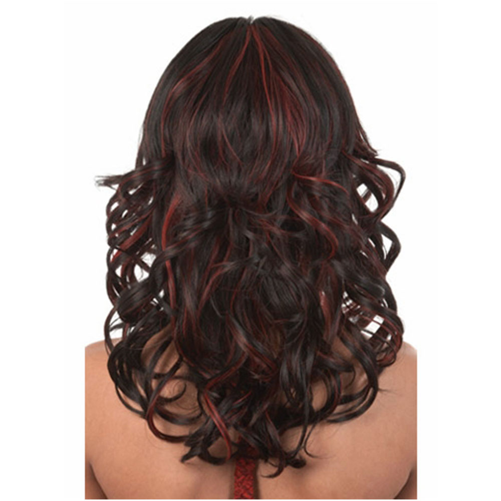 2016 Fashion Natural Black With Burgundy Color Highlight Long Wavy