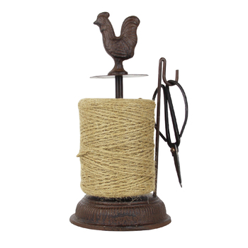 Antique Rustic Big Rooster Cast Iron Hemp Rope Roll Holder With Scissors Figurines European Home Garden Decor Animal Statues 1